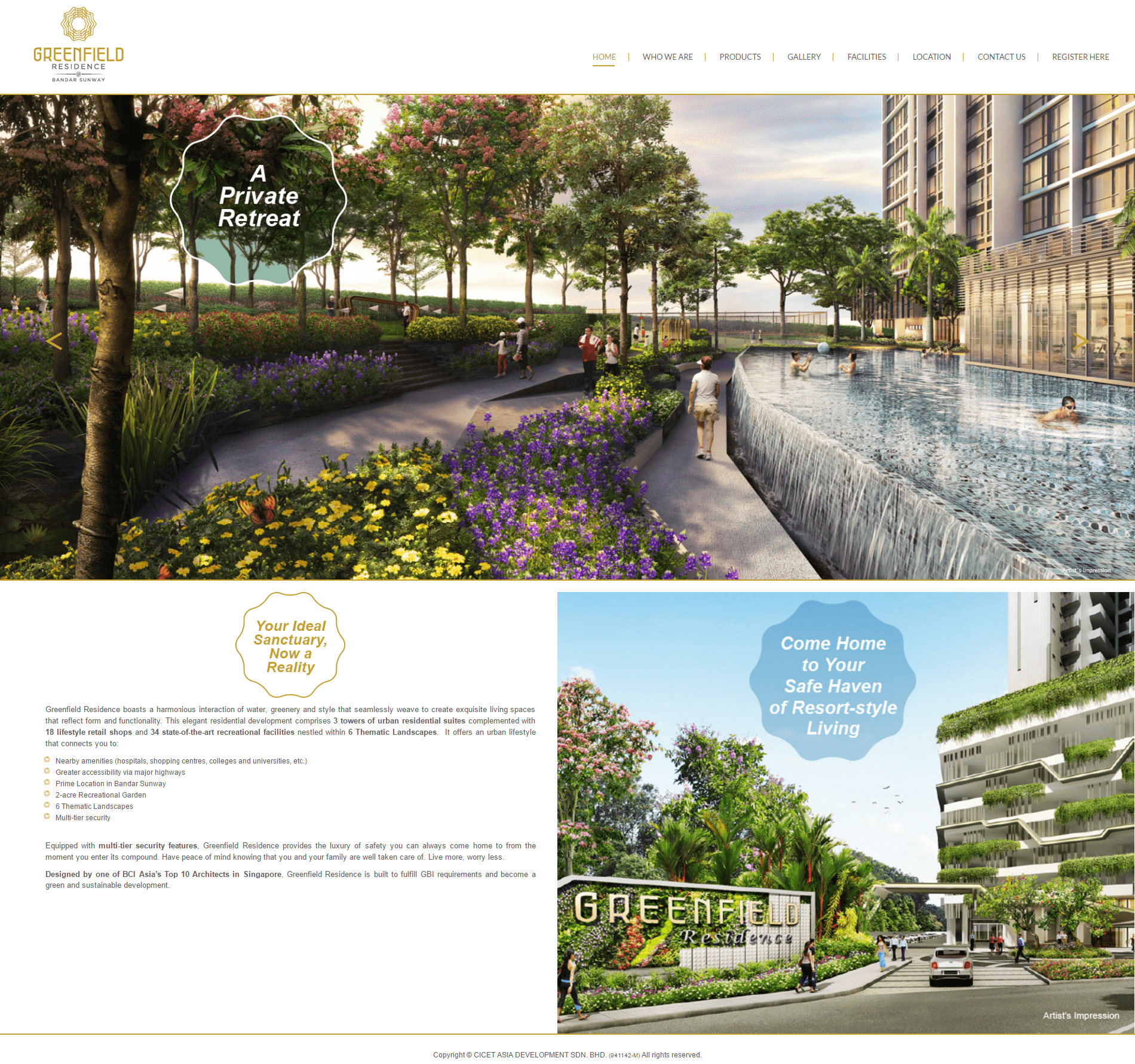 Greenfield Residence Home page