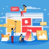 Creation of web design for site. Development team doing project. Vector illustration